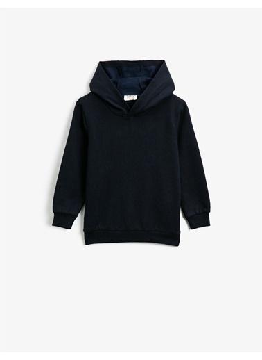 Koton Kapüsonlu Basic Uzun Kollu Sweatshirt Lacivert